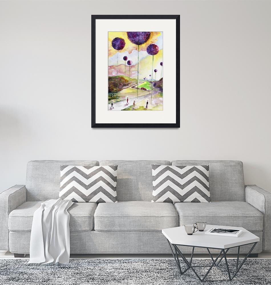 """""""Giant Allium Fantasy Watercolor by Ginette""""  (2015) by GinetteCallaway"""