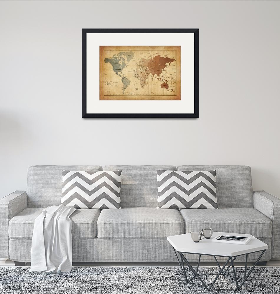 """""""Time Zones Map of the World""""  (2012) by ModernArtPrints"""
