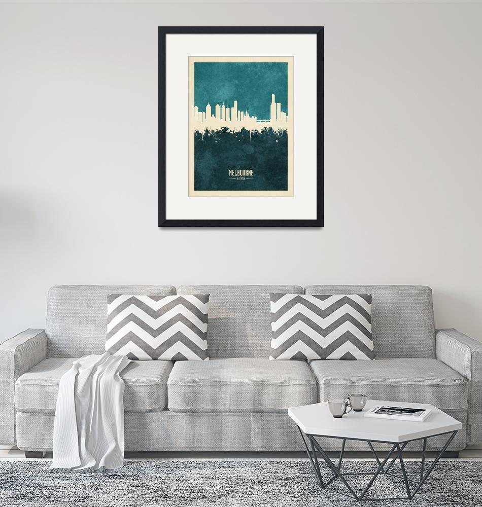 """Melbourne Australia Skyline""  (2019) by ModernArtPrints"