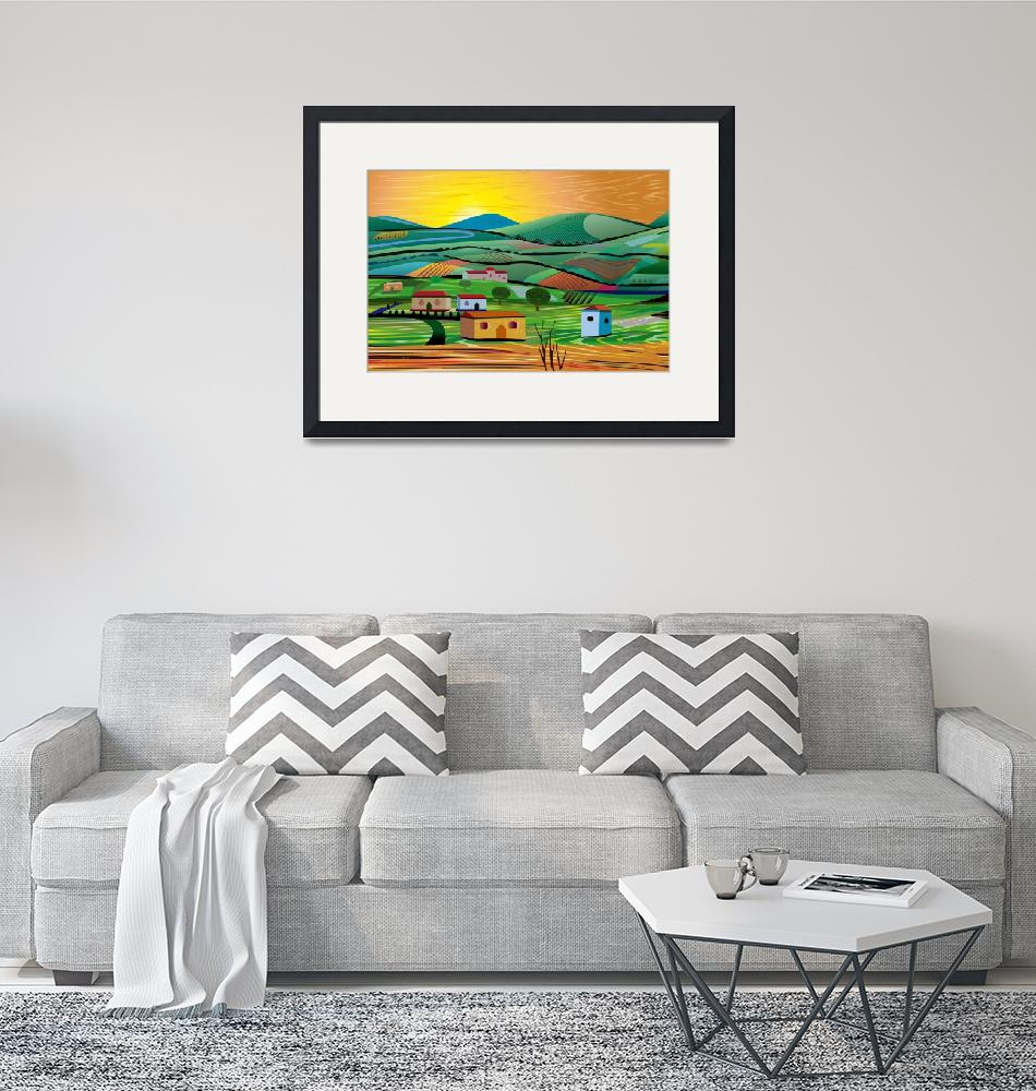 """""""Sunset over Fields""""  (2018) by charker"""