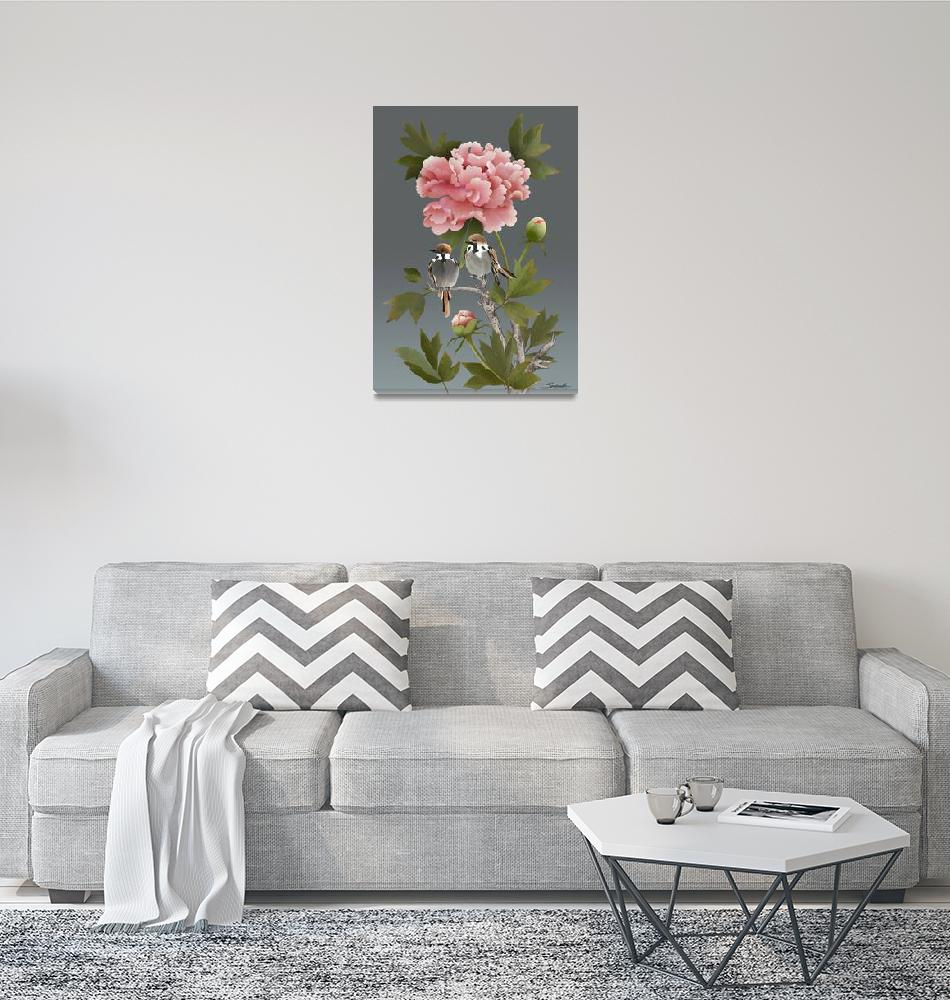 """""""Sparrows and Peony""""  (2019) by spadecaller"""