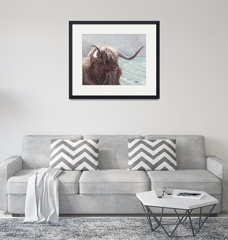 """""""Original oil painting highland bull"""" (2018) by yuezeng"""