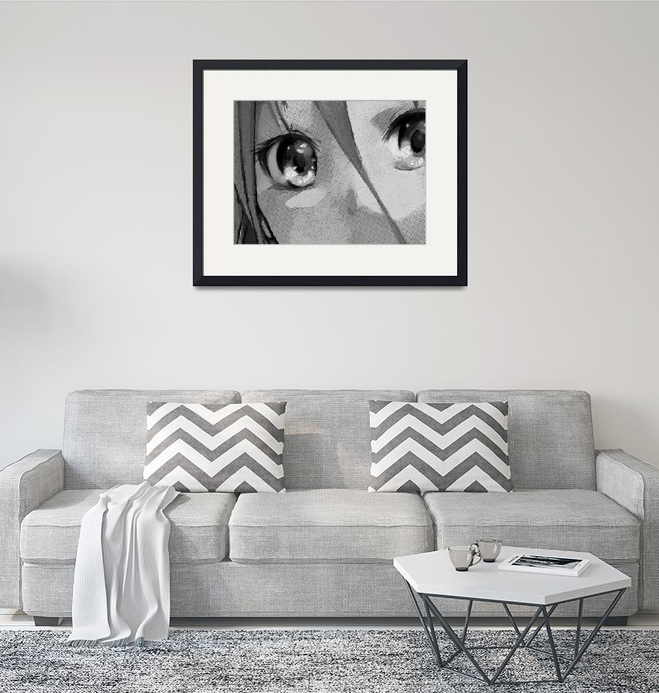 """""""Anime Girl Eyes Black And White""""  (2018) by RubinoFineArt"""