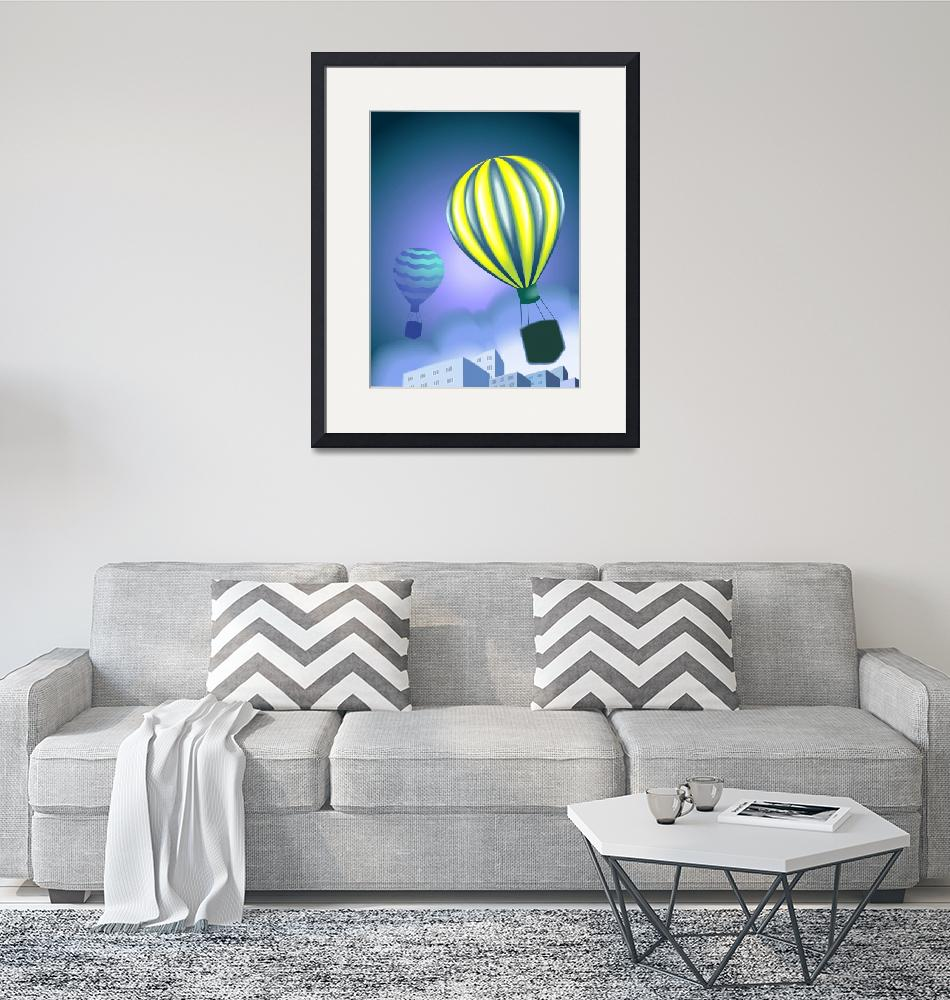 """""""Excitement of the parachutes flying in the sky""""  (2011) by digitalpainting"""