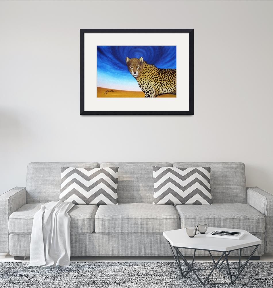 """Cheetah with Blue Sky""  (2010) by ryanwitterarts"