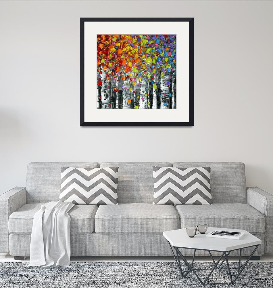 """""""Birch Trees Abstract Multicolored Square Art"""" (2015) by modernhouseart"""