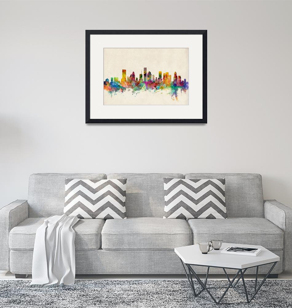 """Houston Texas Skyline""  (2013) by ModernArtPrints"