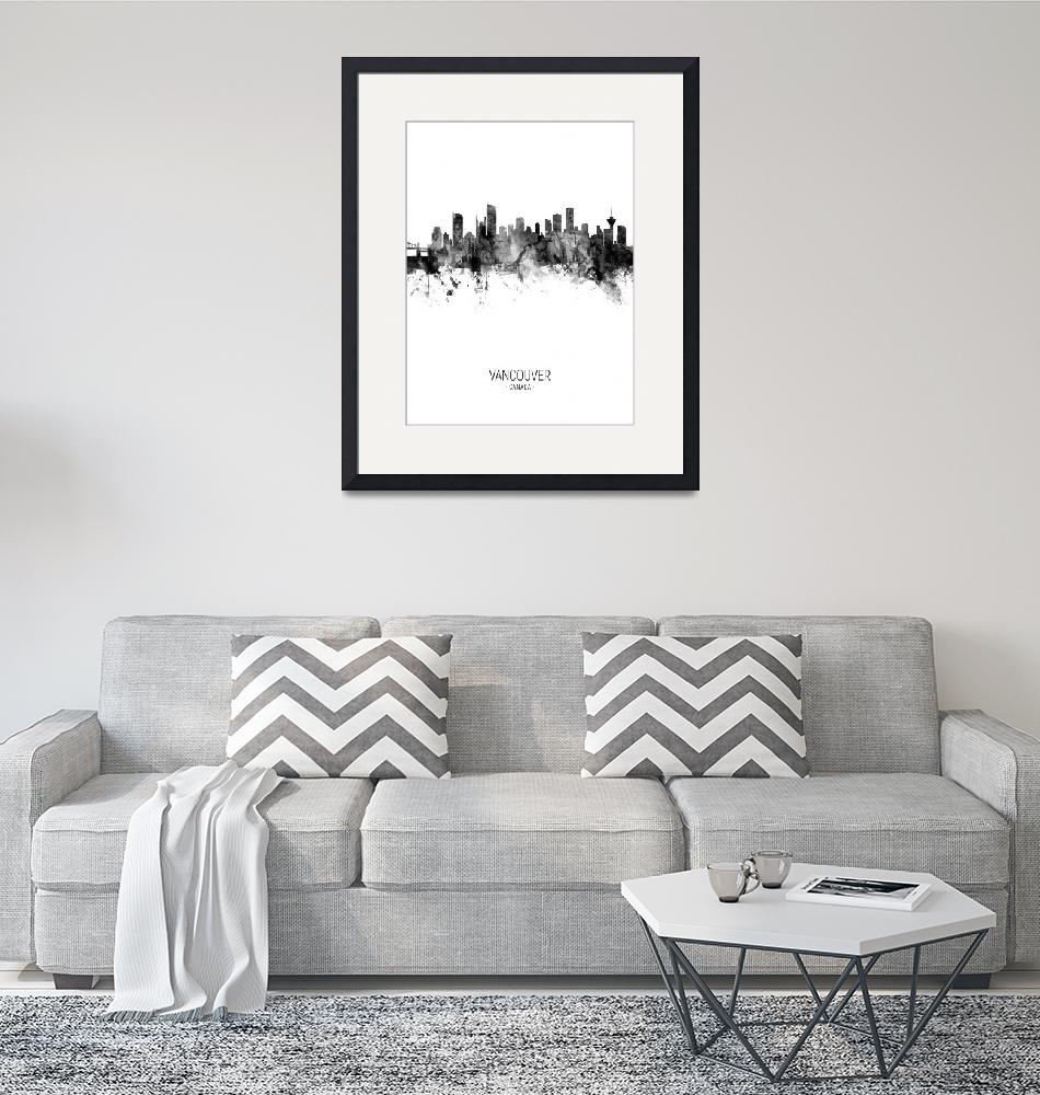 """Vancouver Canada Skyline""  (2018) by ModernArtPrints"