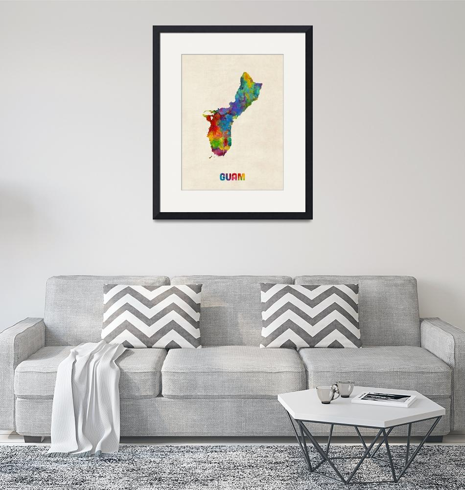 """Guam Watercolor Map""  (2016) by ModernArtPrints"