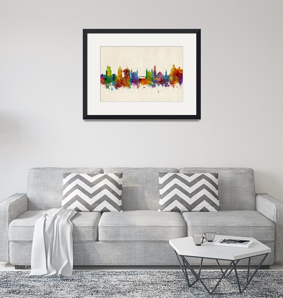 """Ljubljana Solvenia Skyline""  (2018) by ModernArtPrints"