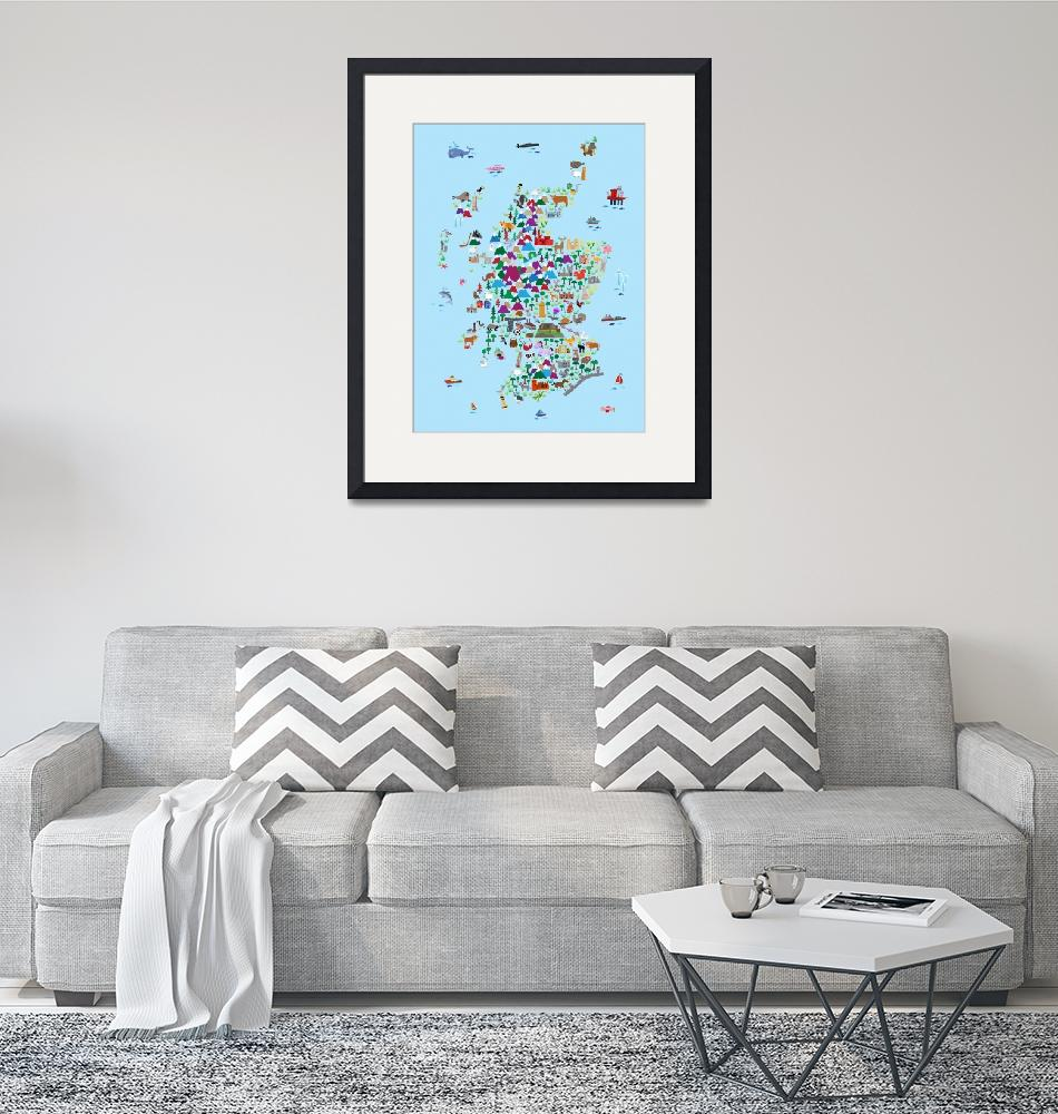"""Animal Map of Scotland for children and kids""  (2017) by ModernArtPrints"