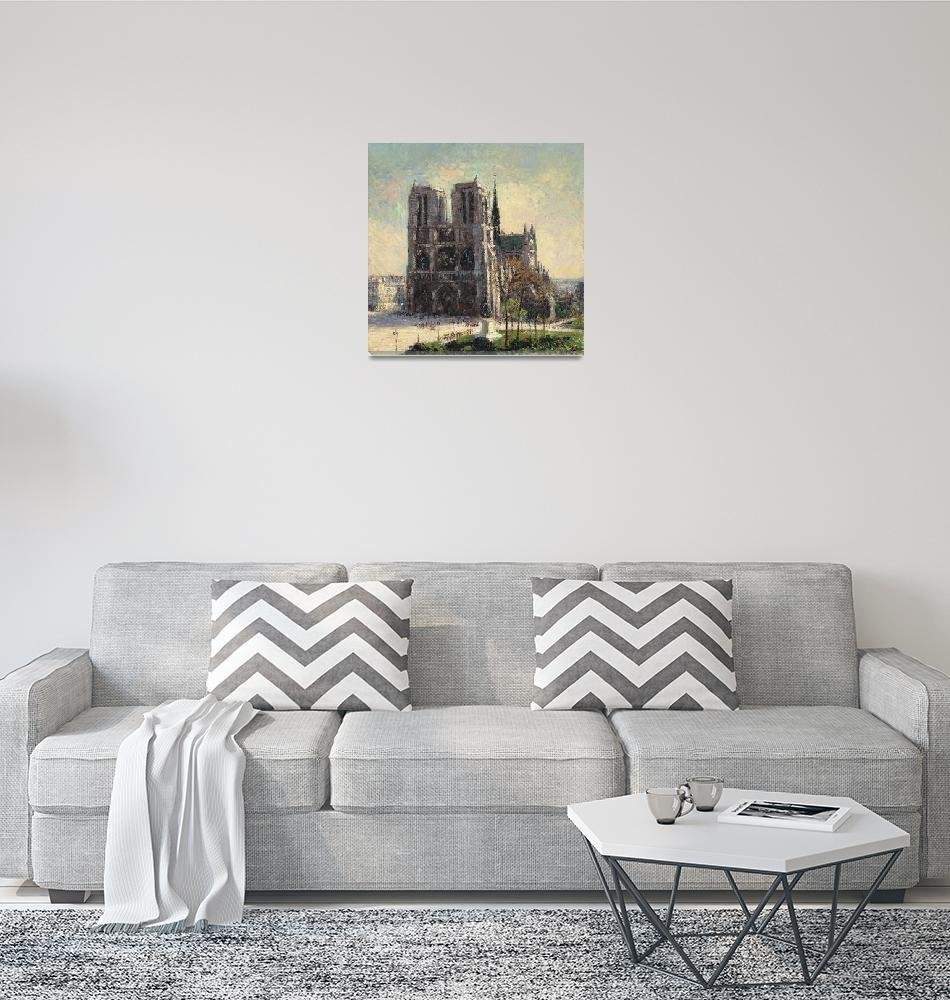 """View of Notre Dame, Paris by Gustave Loiseau""  by FineArtClassics"