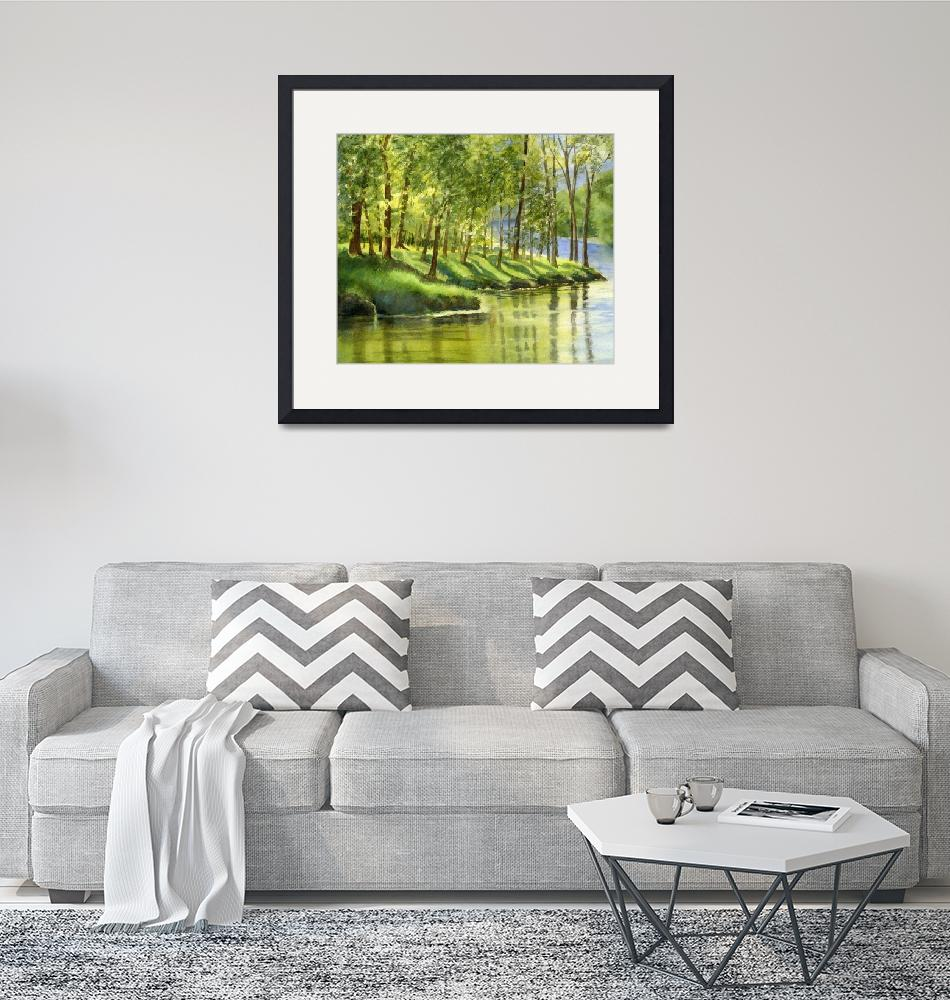 """Spring Green Trees with Reflections""  (2009) by Pacific-NW-Watercolors"