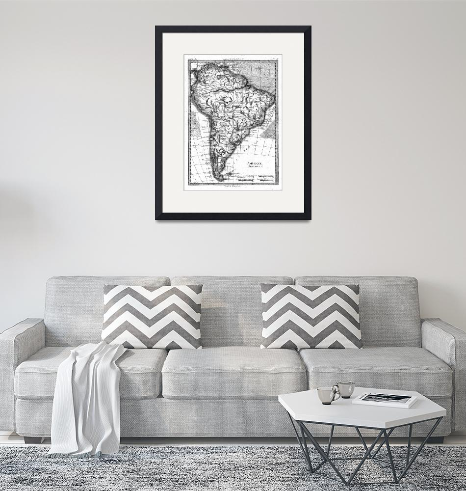"""""""Vintage Map of South America (1780) BW""""  by Alleycatshirts"""