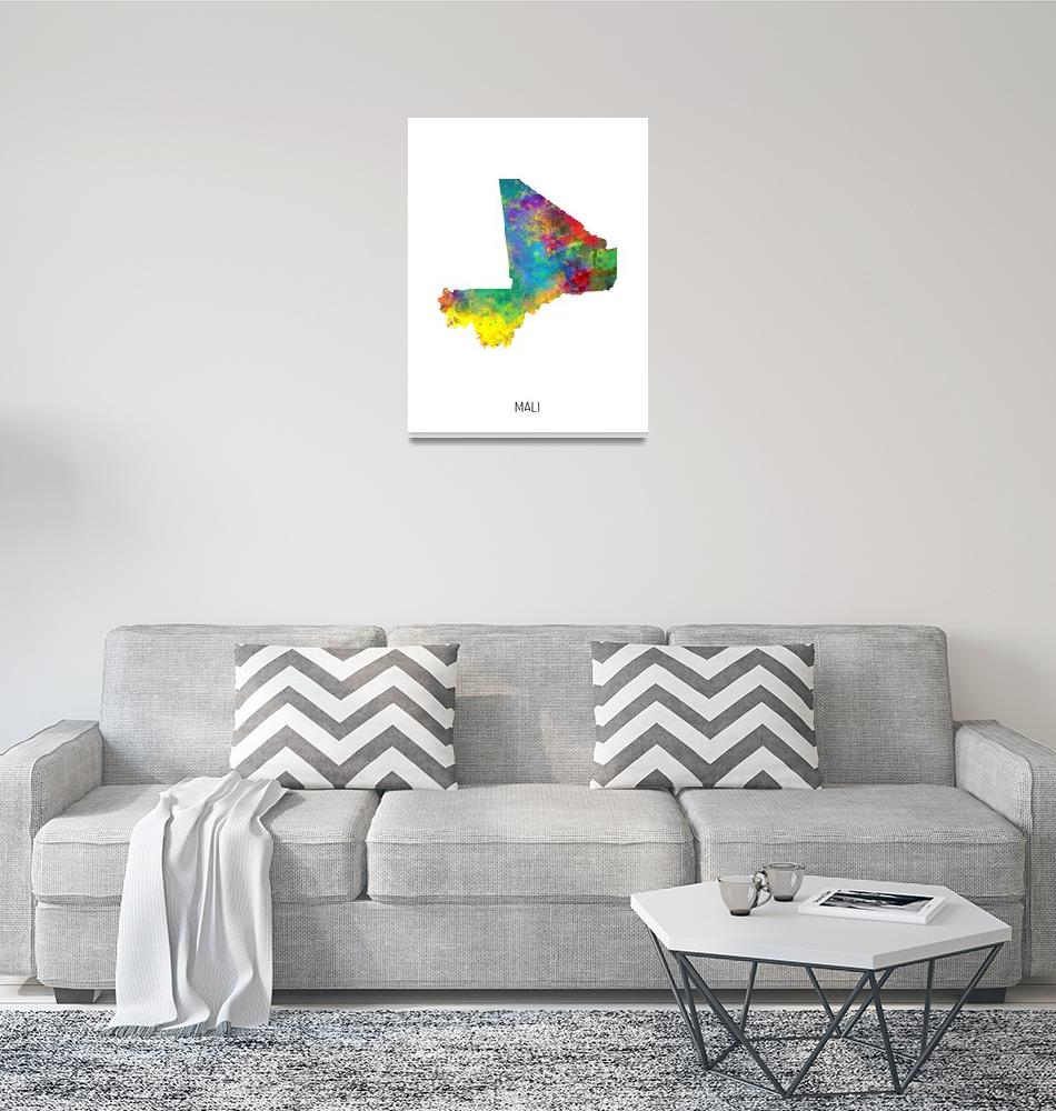 """Mali Watercolor Map""  (2019) by ModernArtPrints"