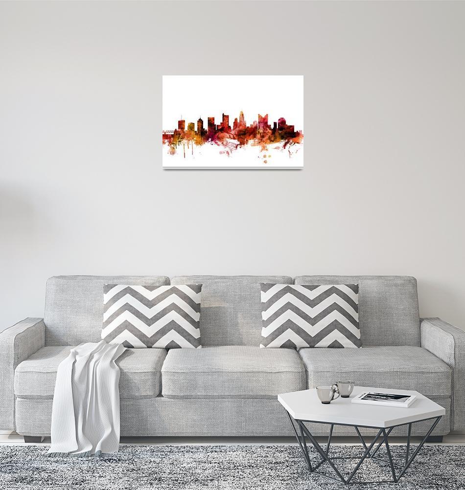 """Columbus Ohio Skyline"" (2018) by ModernArtPrints"