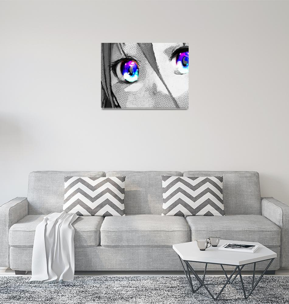 """Anime Girl Eyes 2 Black And White Blue Eyes 2""  (2018) by RubinoFineArt"