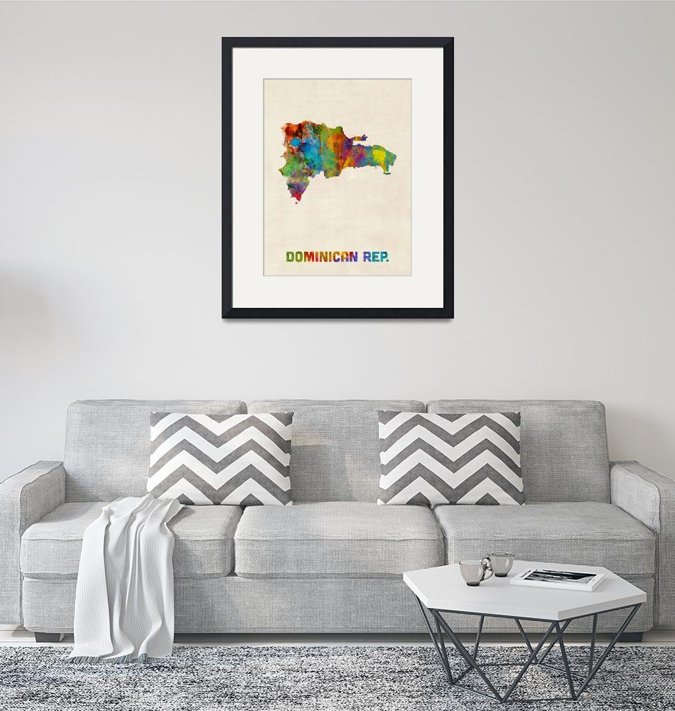 """Dominican Republic Watercolor Map""  (2015) by ModernArtPrints"