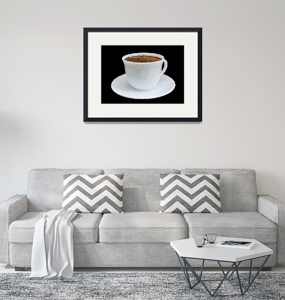 """""""White cup with coffee on black background""""  (2013) by Valegorov"""