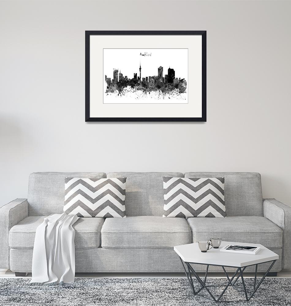 """Auckland Black and White Watercolor Skyline""  (2016) by MarianVoicu"