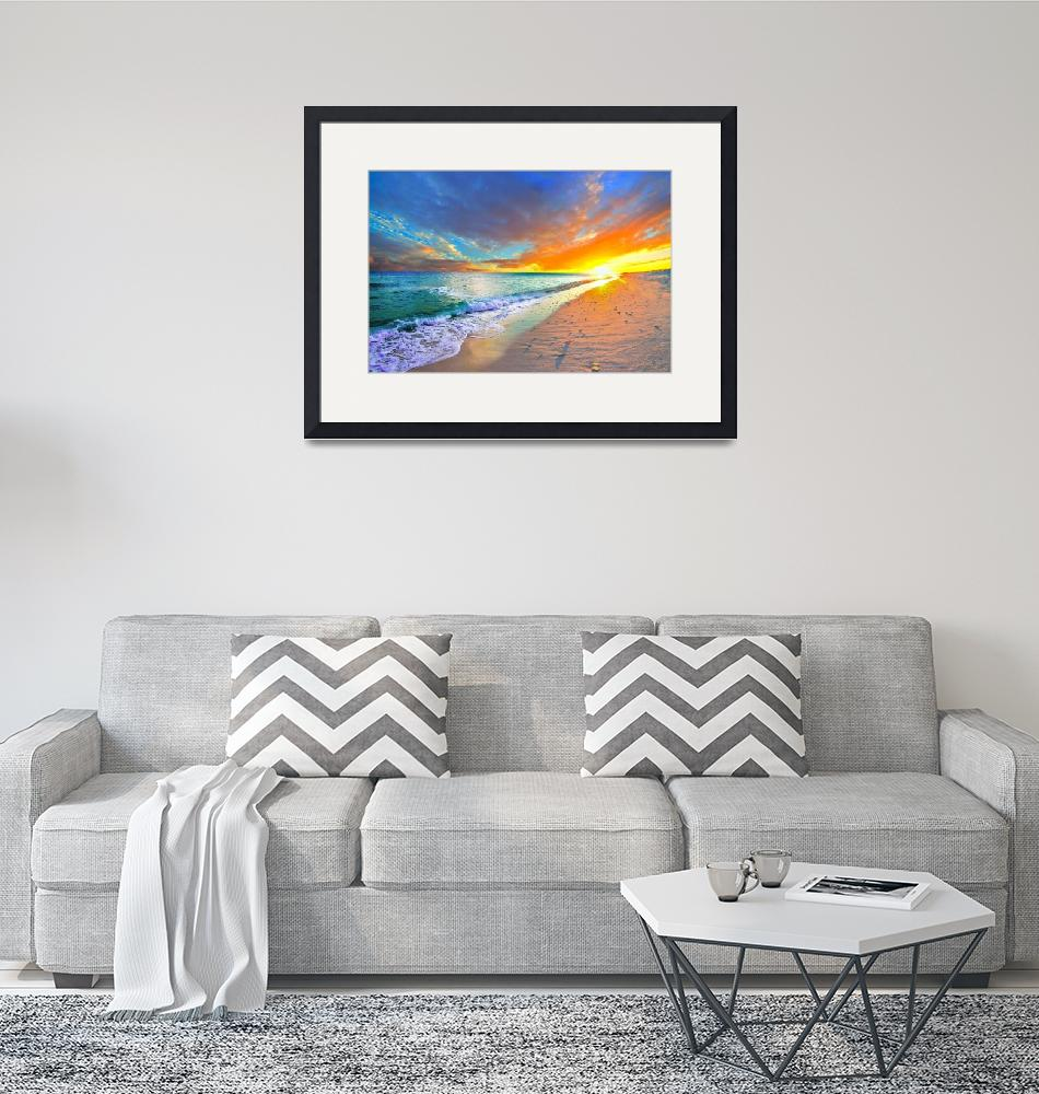 """orange sunset beach turquoise ocean""  (2015) by eszra"