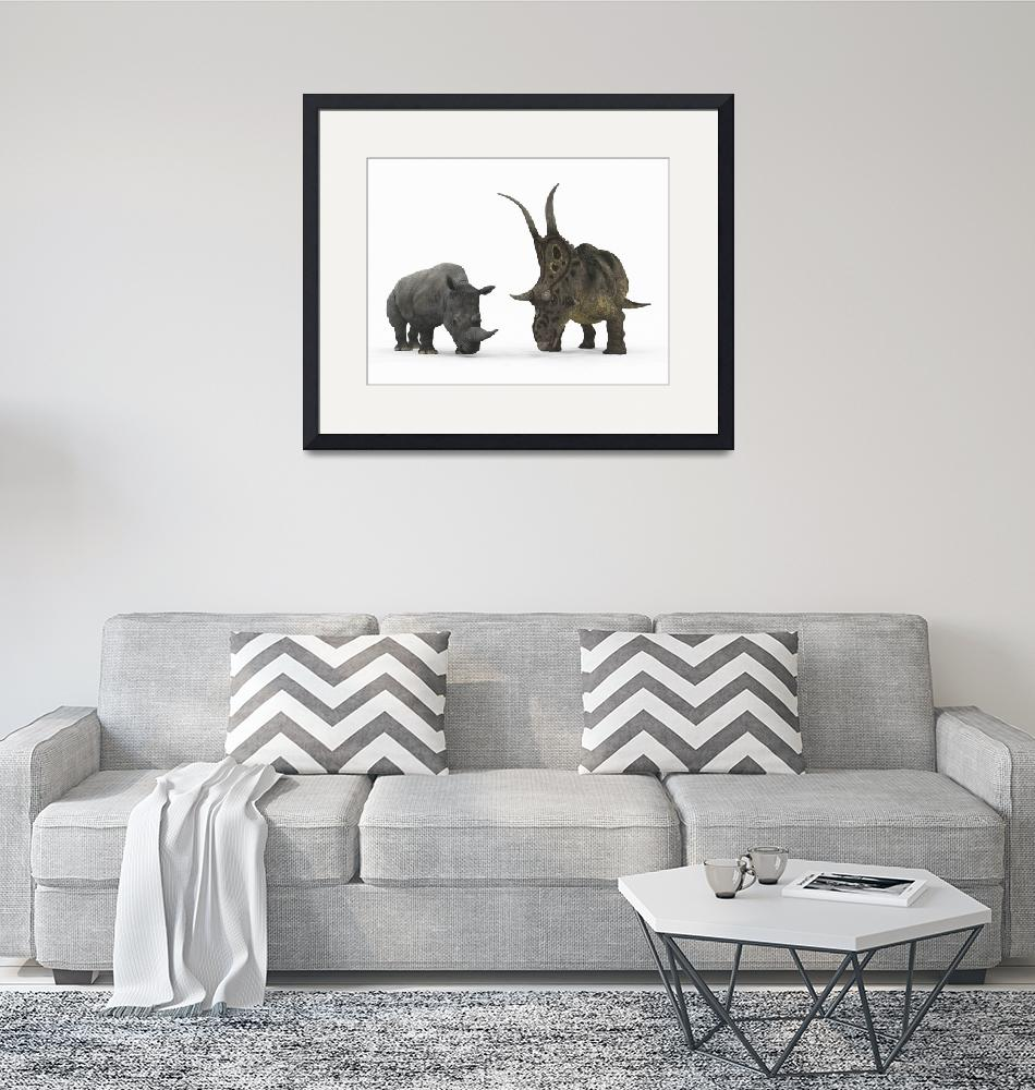 """""""An adult Diabloceratops compared to a modern adult""""  by stocktrekimages"""