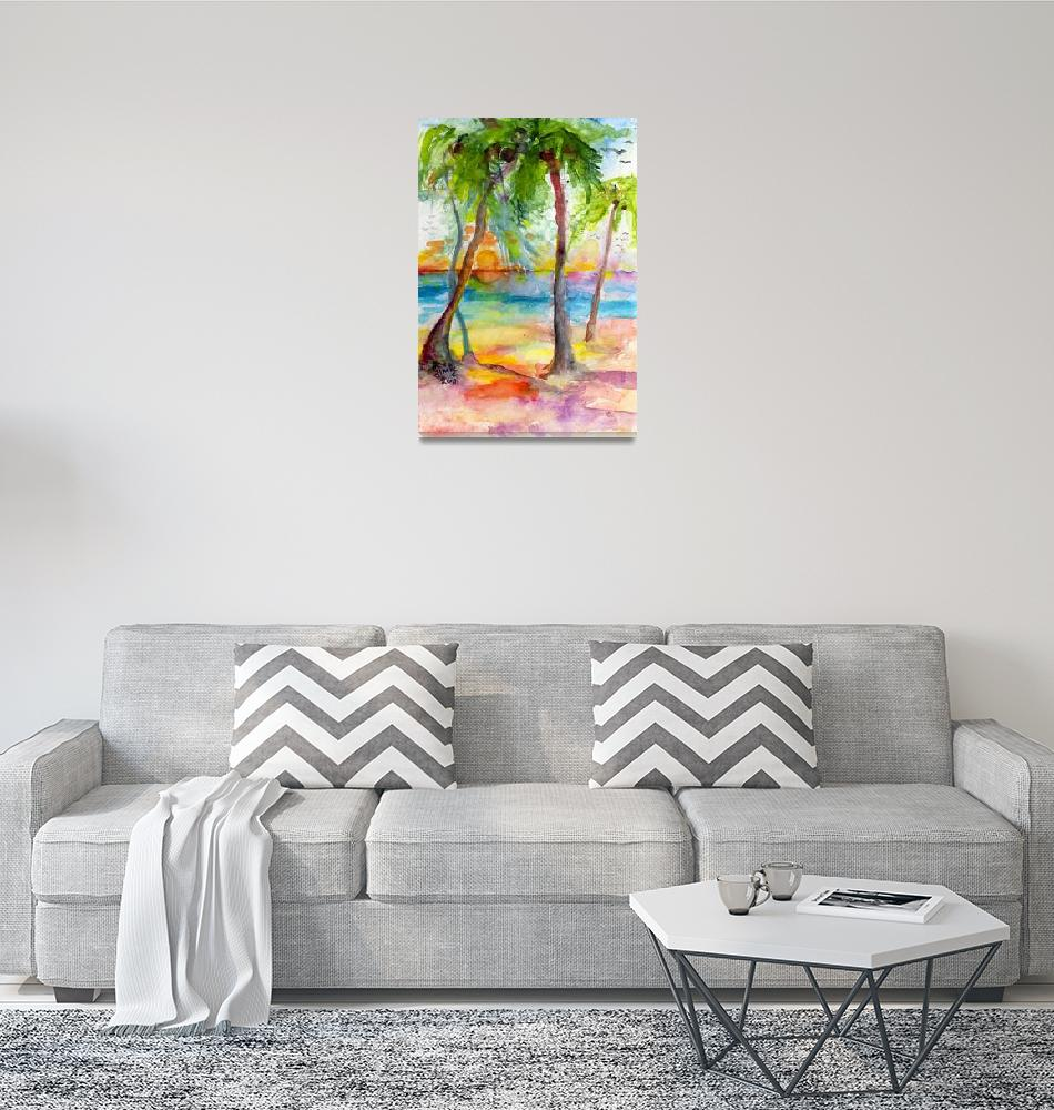 """Pink Sands and Palms Island Dreams Watercolor""  (2012) by GinetteCallaway"