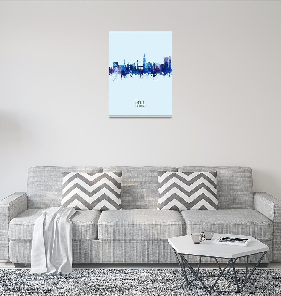 """Split Croatia Skyline""  (2019) by ModernArtPrints"