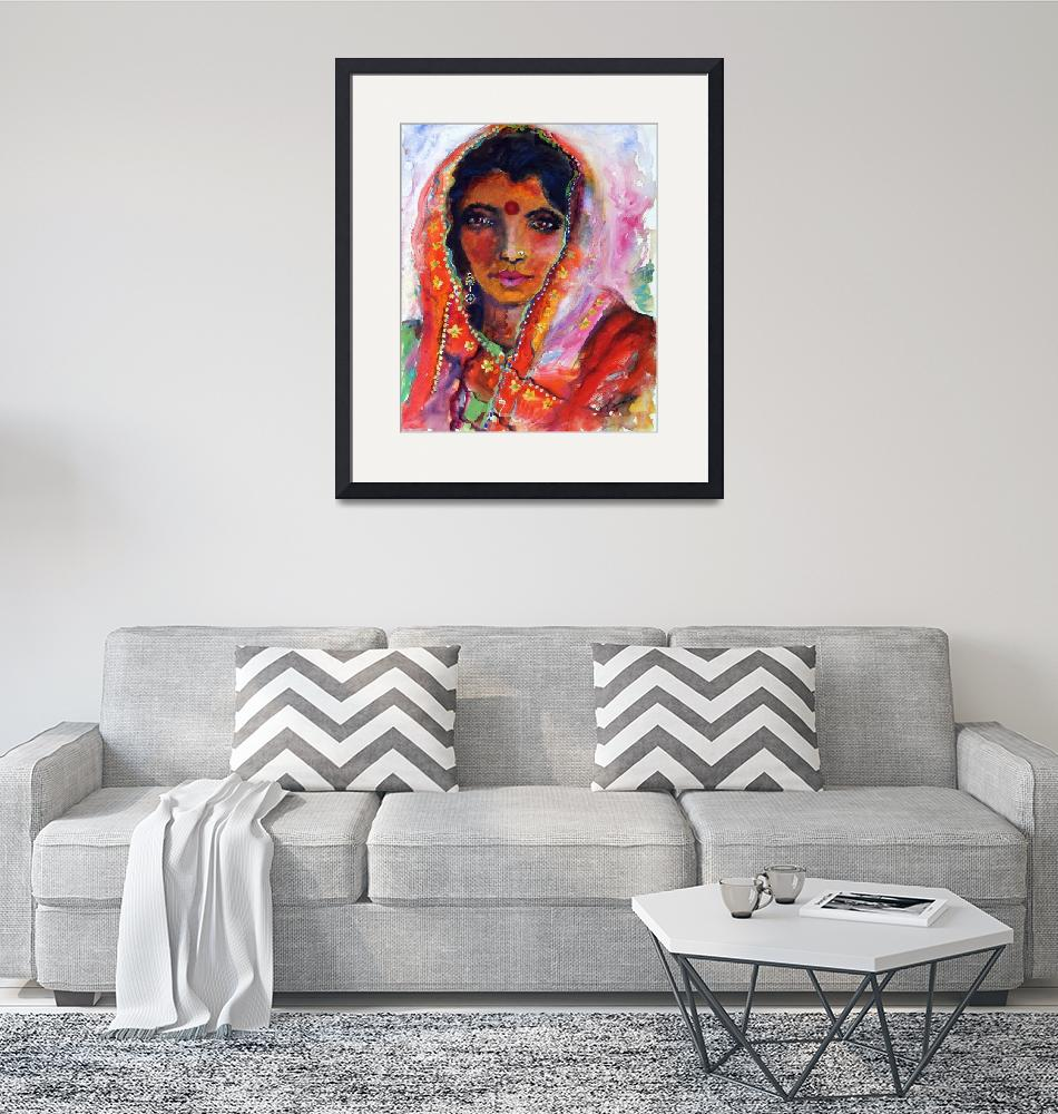 """Indian Woman with Red Bindi Mixed Media Painting b""  (2008) by GinetteCallaway"