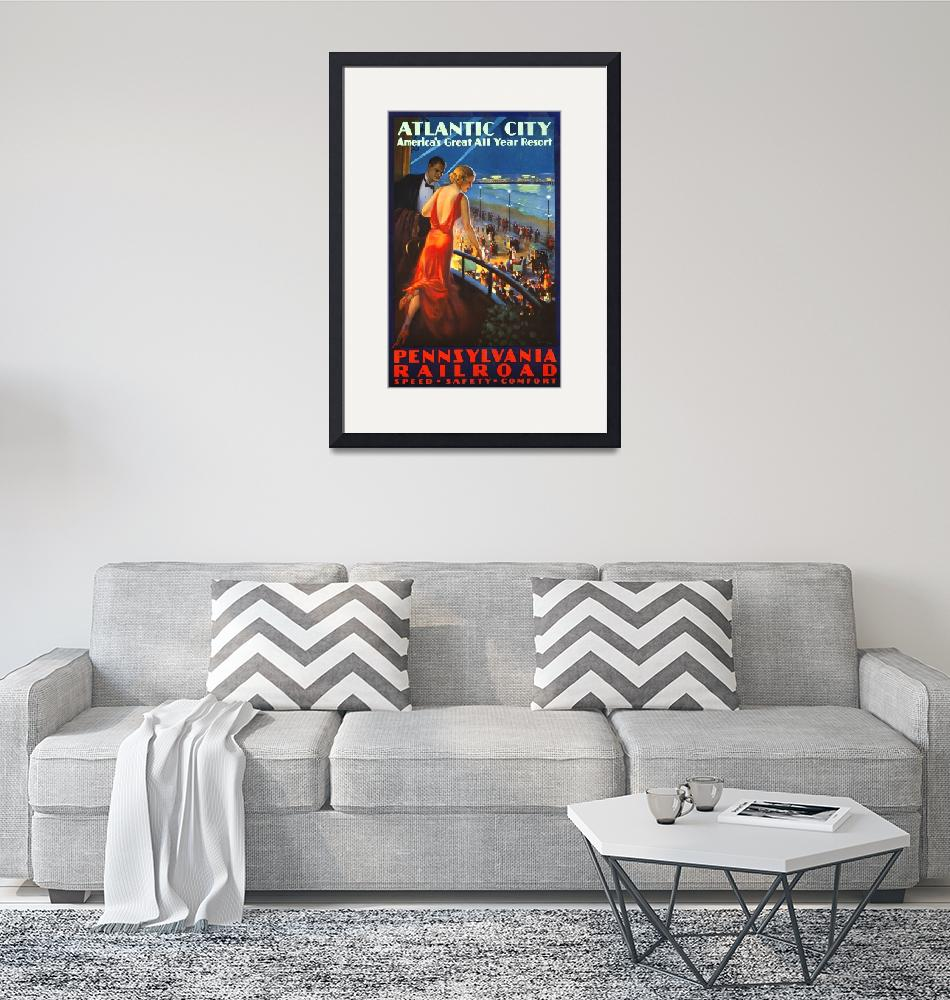"""""""Atlantic City Vintage Travel Poster""""  by FineArtClassics"""