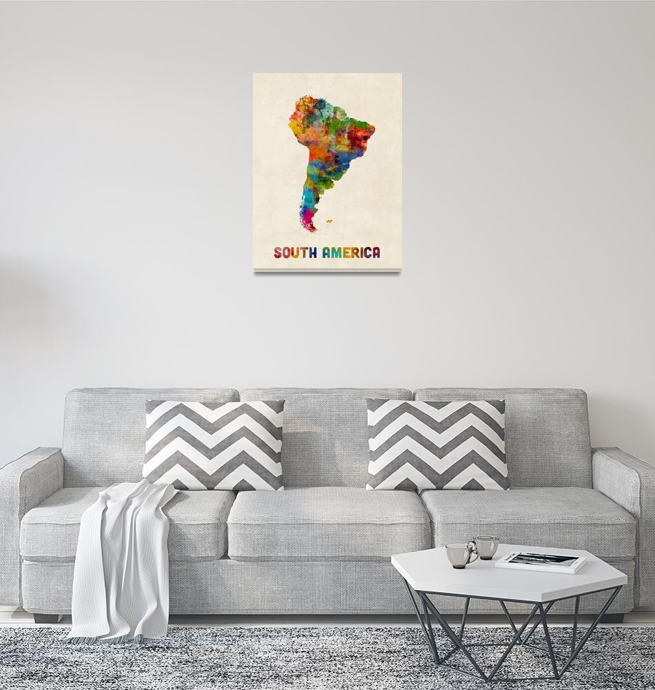 """South America Watercolor Map""  (2016) by ModernArtPrints"
