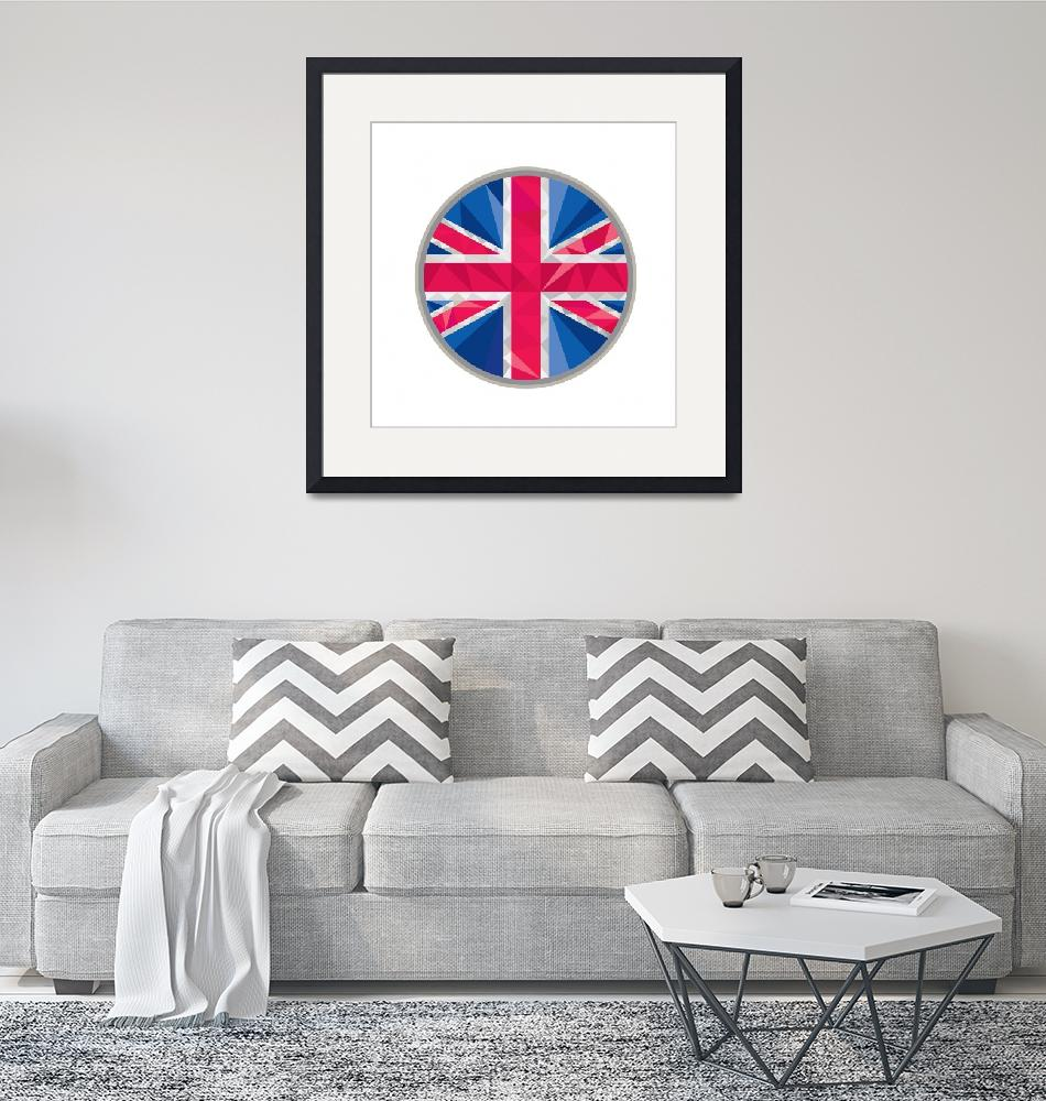 """Union Jack UK GB Flag Circle Low Polygon""  (2015) by patrimonio"