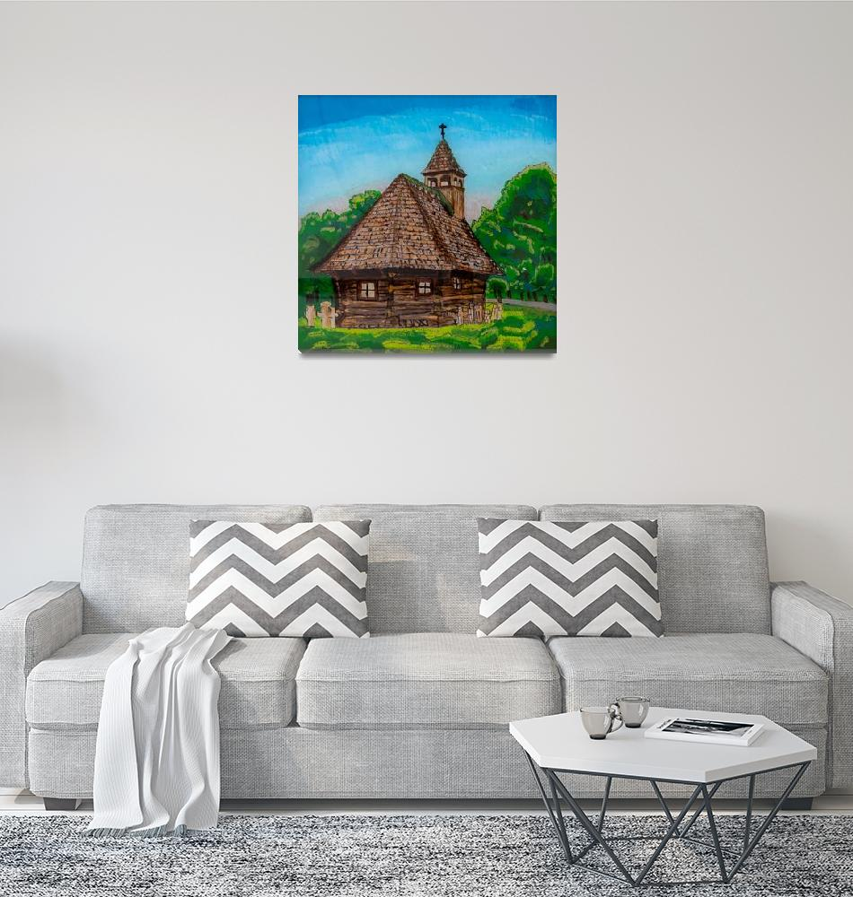 """Reverse Glass Painting of Wooden Church""  (2018) by visfineart"
