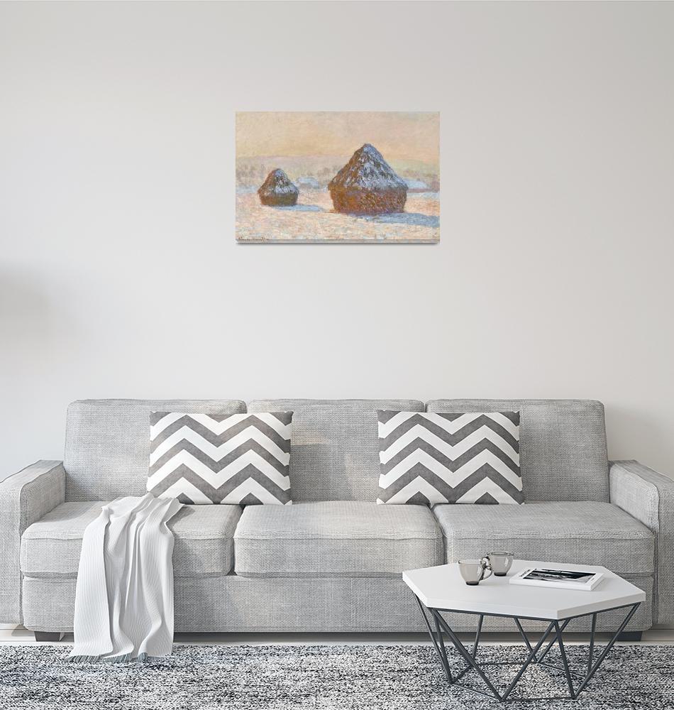 """Wheatstacks, Snow Effect, Morning by Monet""  by FineArtClassics"