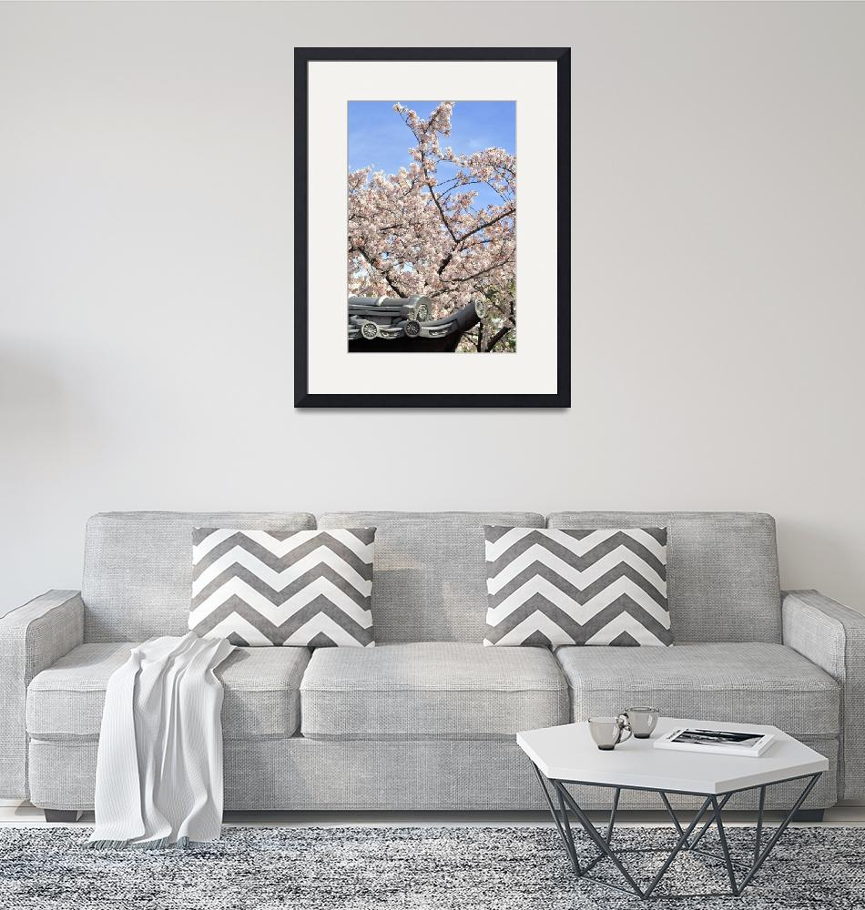 """""""A Japanese Scene: Roof and Sakura""""  (2017) by JoaoPonces"""