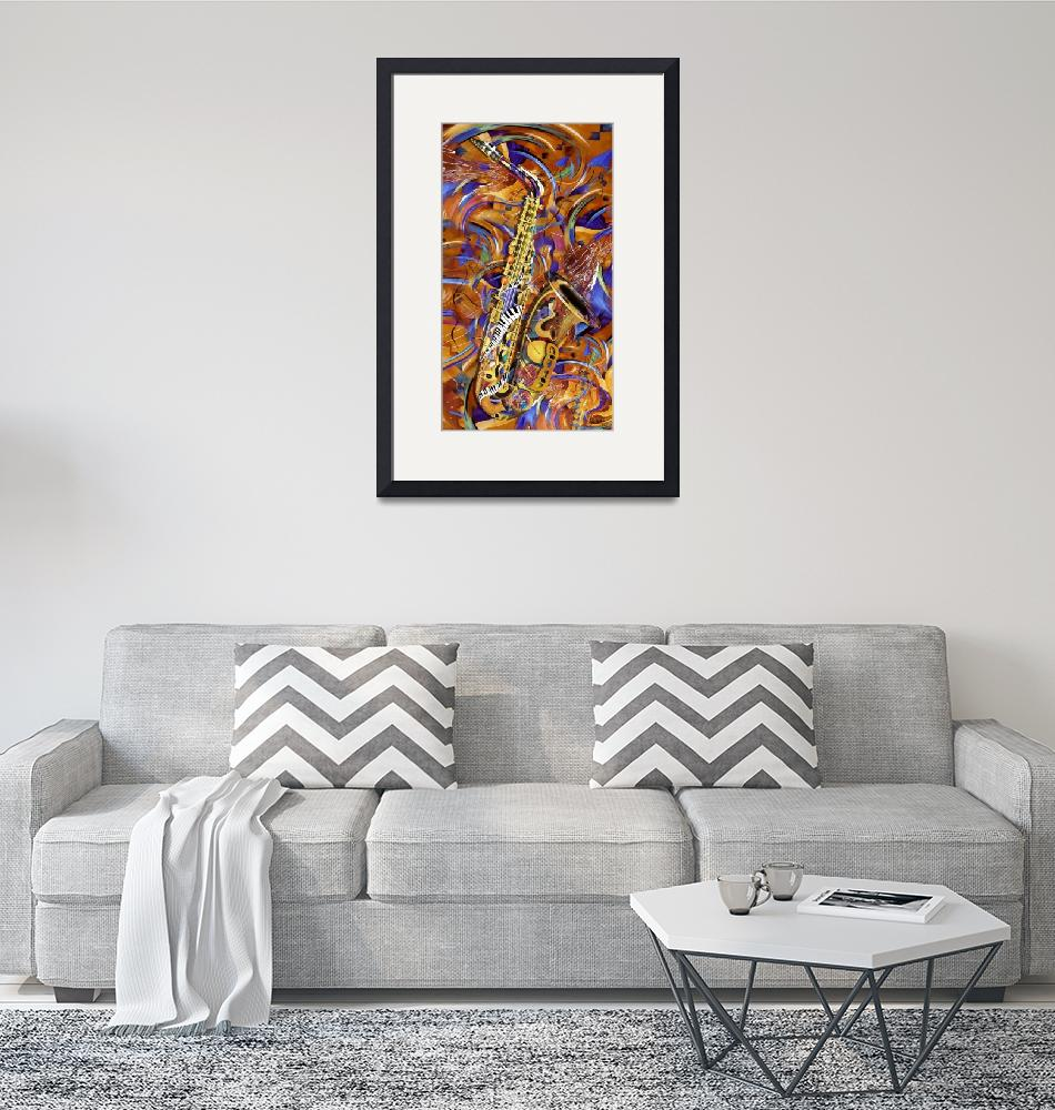 """""""A Little Sax Abstract Colorful Jazz Saxophone Prin""""  (2012) by JuleezArt"""