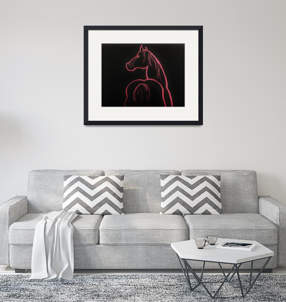 """pink in black - horse""  (2005) by gallerymay"