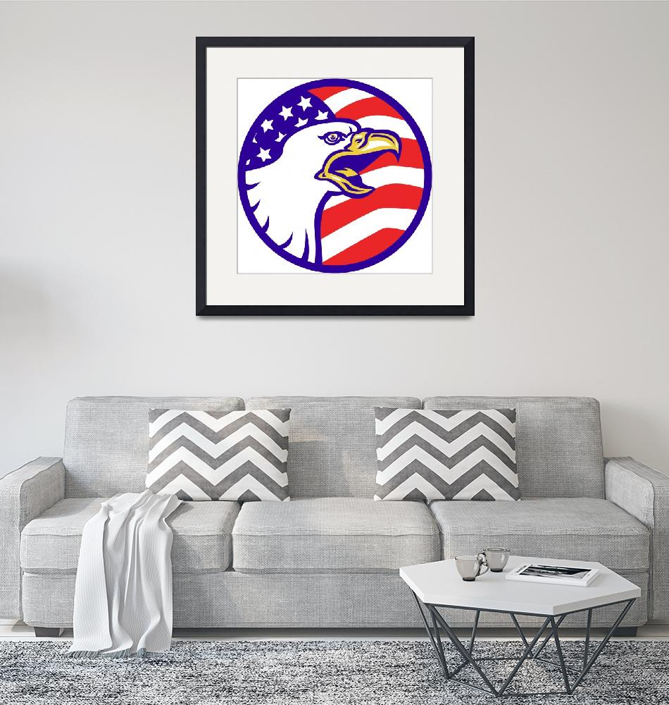 """American Bald eagle screaming with USA flag""  (2013) by patrimonio"