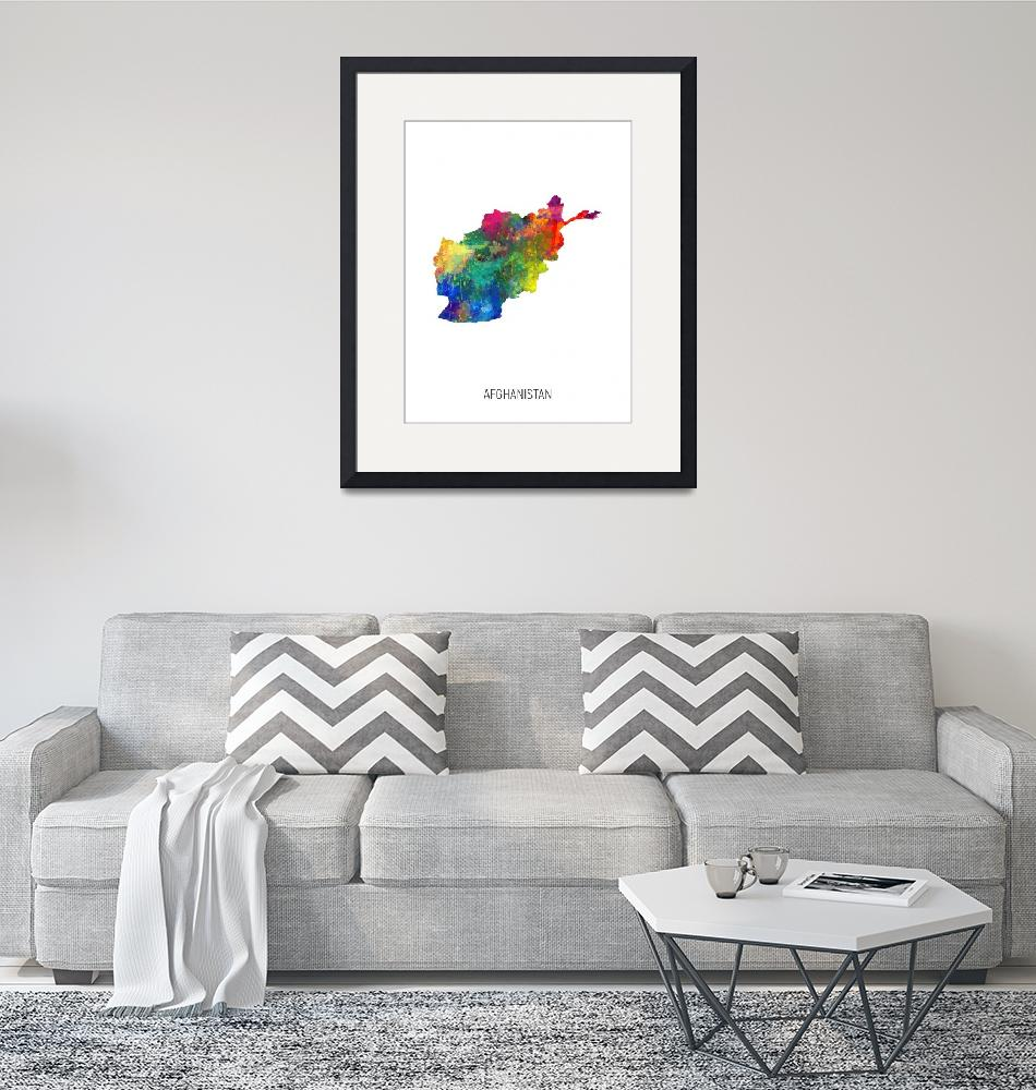 """Afghanistan Watercolor Map""  (2019) by ModernArtPrints"