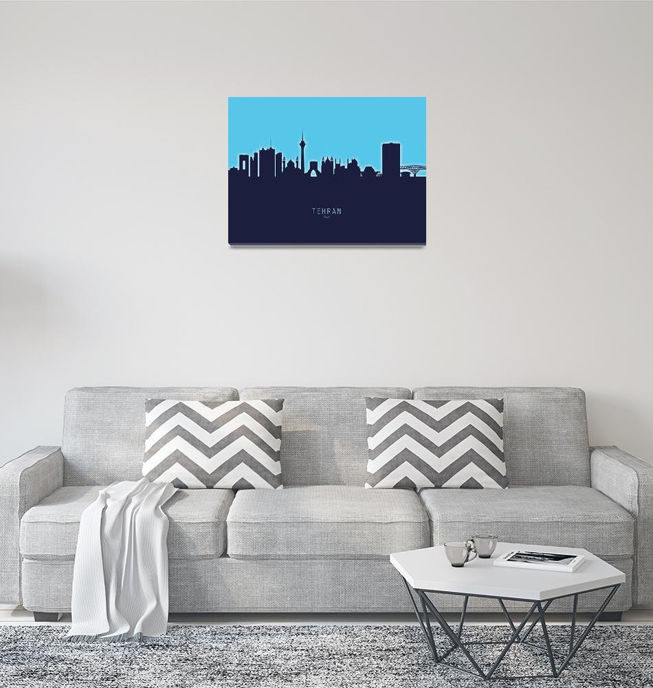 """Tehran Iran Skyline""  (2020) by ModernArtPrints"