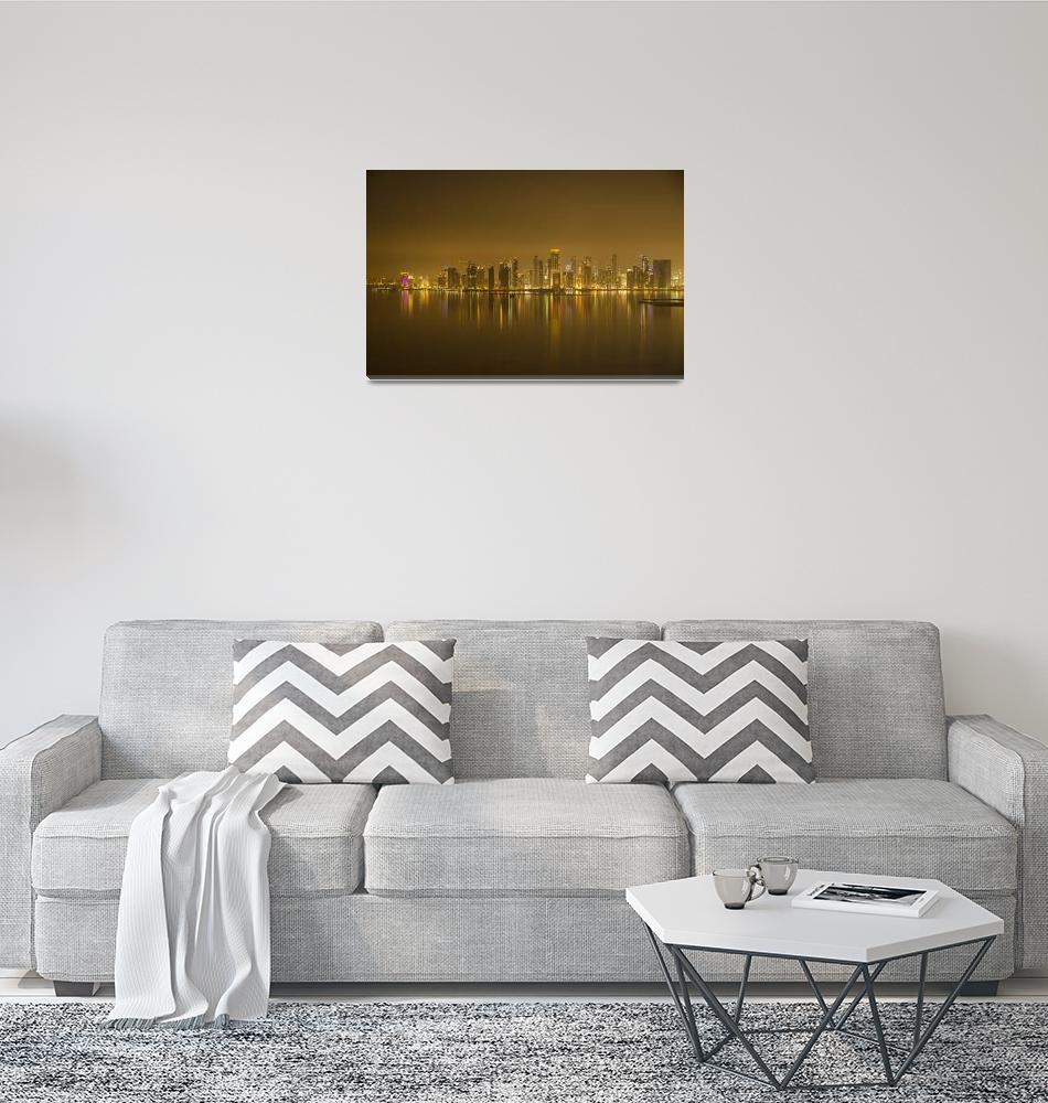 """""""Doha City Skyline""""  (2012) by KasiaDixon"""