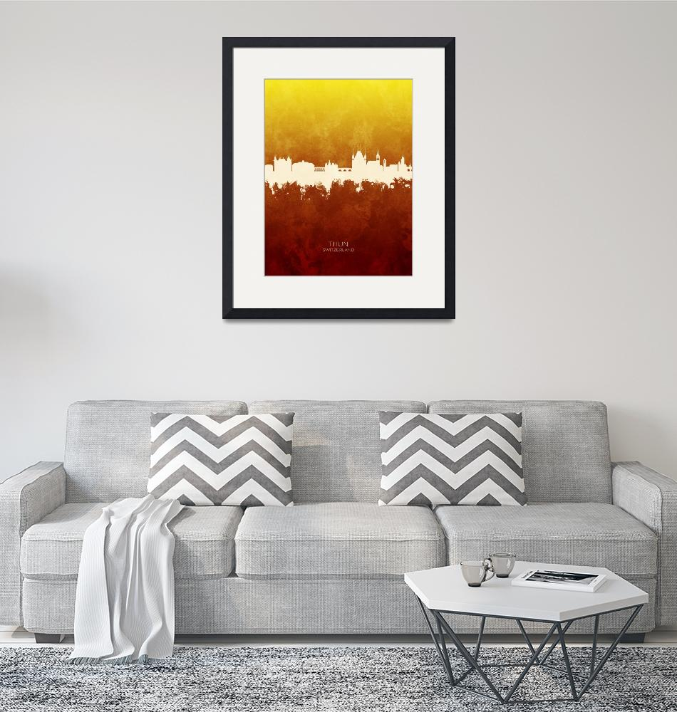 """Thun Switzerland Skyline""  (2019) by ModernArtPrints"