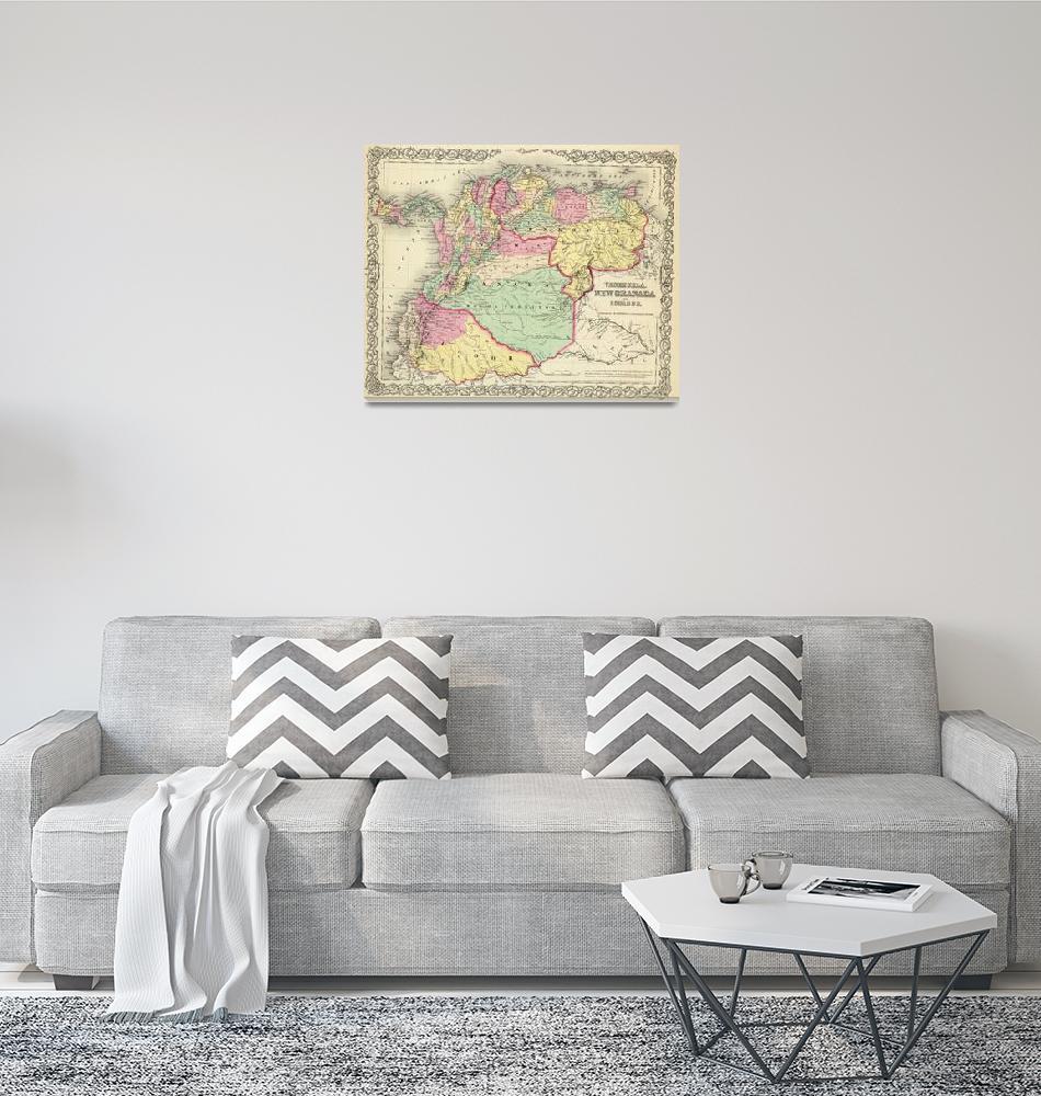 """""""Vintage Map of Venezuela, Ecuador, Colombia (1855)""""  by Alleycatshirts"""