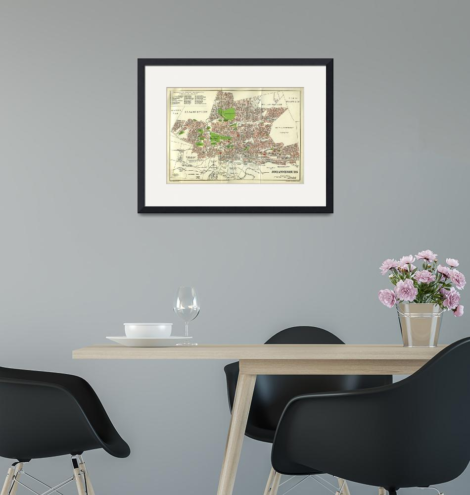 """""""Vintage Johannesburg South Africa Map (1913)""""  by Alleycatshirts"""