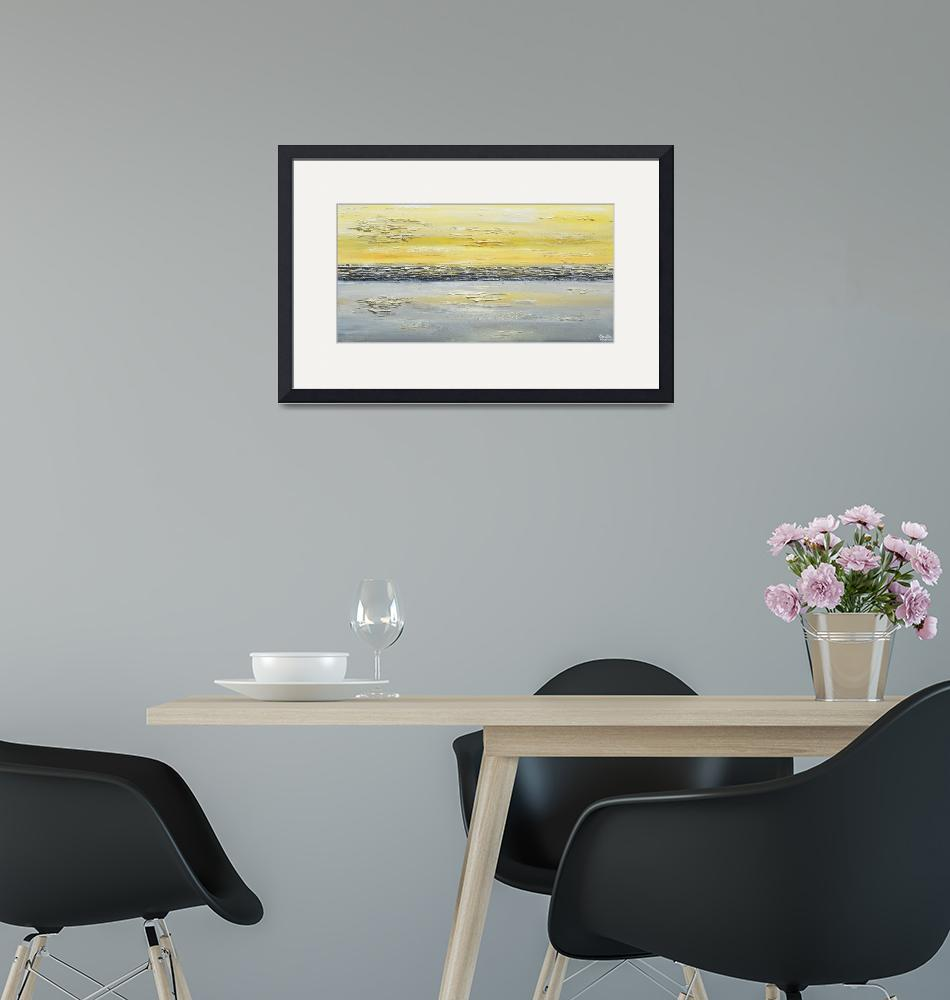 """""""""""Coastal Reflections"""" Yellow Grey Abstract""""  (2014) by ChristineBell"""