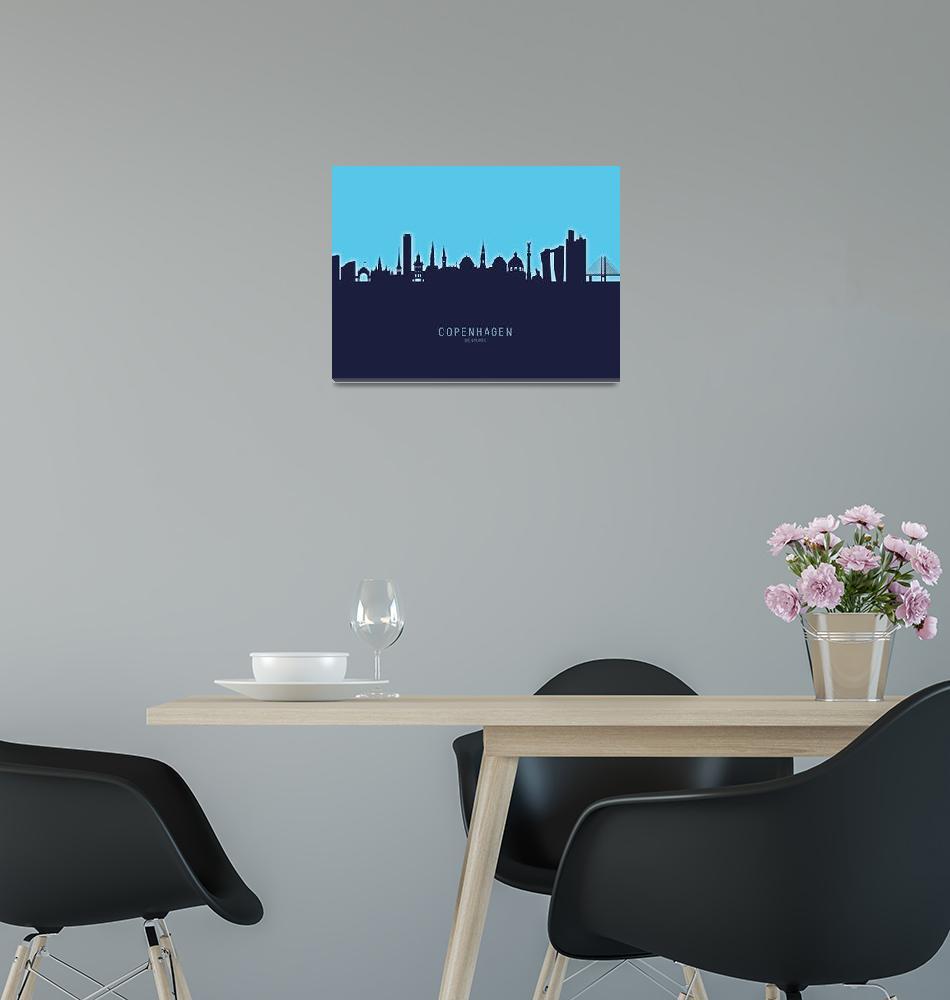 """Copenhagen Denmark Skyline""  (2020) by ModernArtPrints"