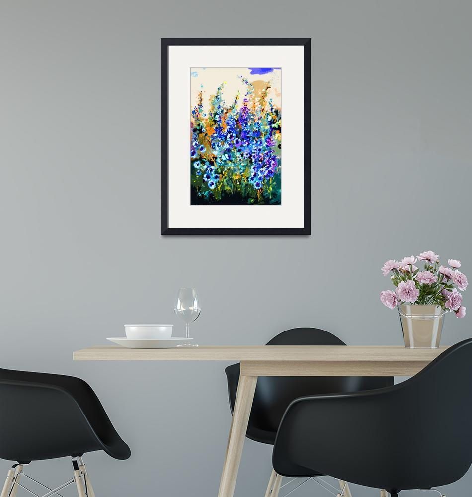 """Delphiniums Modern Floral Art""  (2014) by GinetteCallaway"