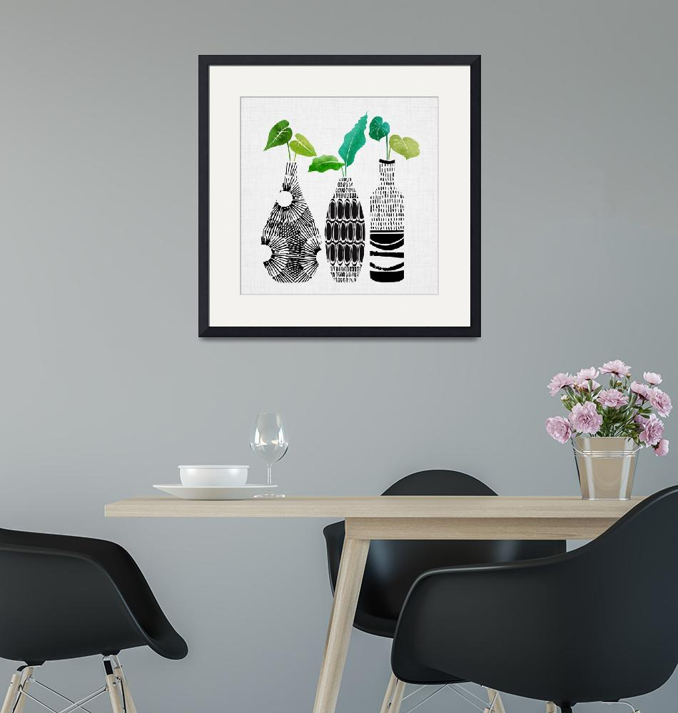 """""""Black and White Tribal Vases""""  (2018) by moderntropical"""