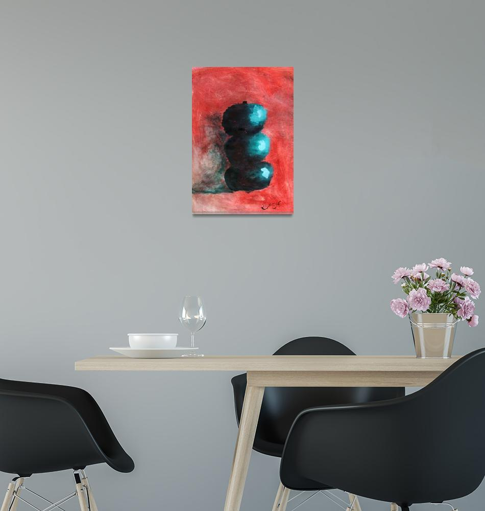 """""""Green Impressionist Apples Stacked on Abstracted R""""  (2012) by ExclusiveCanvasArt"""