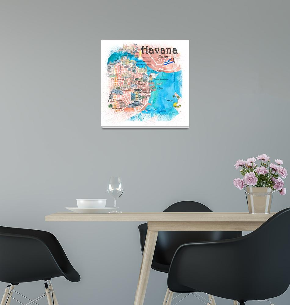 """Havana Cuba Illustrated Map with Main Roads Landma""  (2019) by arthop77"